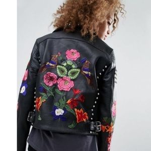 ASOS Leather PREMIUM Jacket With Floral Embroidery